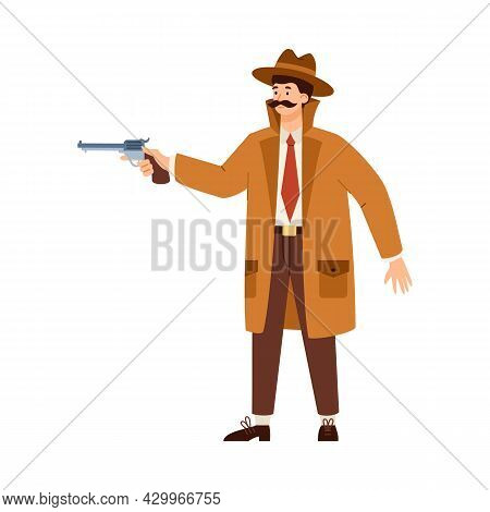 Detective Or Spy In Hat Aiming With Gun, Flat Vector Illustration Isolated.