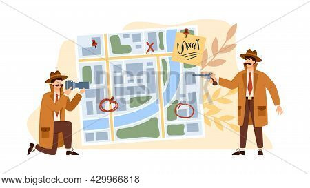 Detectives Against Investigation Board, Flat Vector Illustration Isolated.
