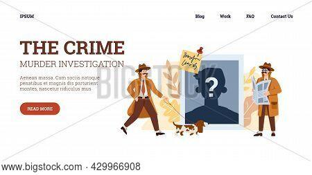 Website With Detectives Investigating Crime, Flat Vector Illustration.