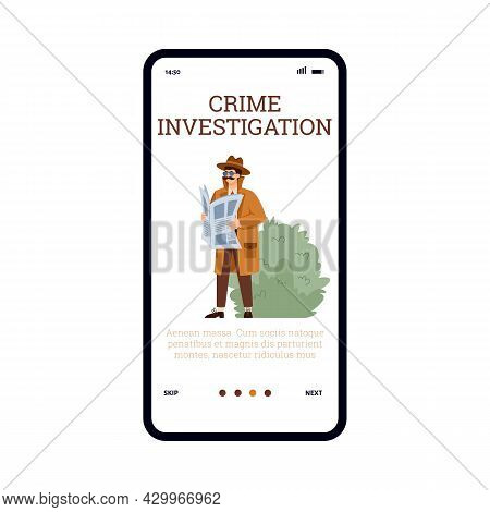 Crime Investigation Onboarding Mobile Screen Design, Flat Vector Illustration.