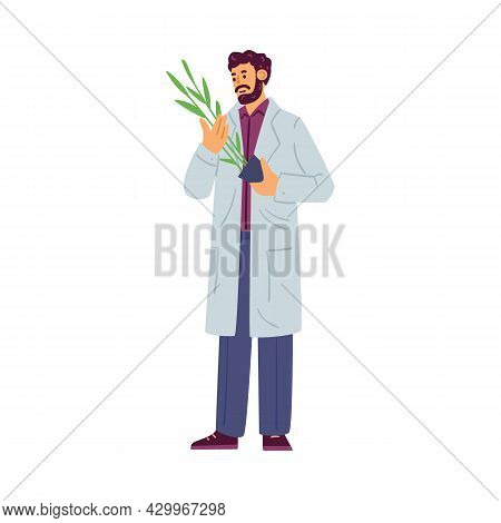 Biologist Expert Or Plants Breeder Character, Flat Vector Illustration Isolated.