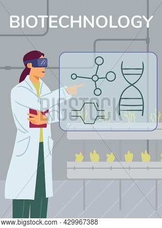 Biotechnology Banner With Scientist In Laboratory, Flat Vector Illustration.