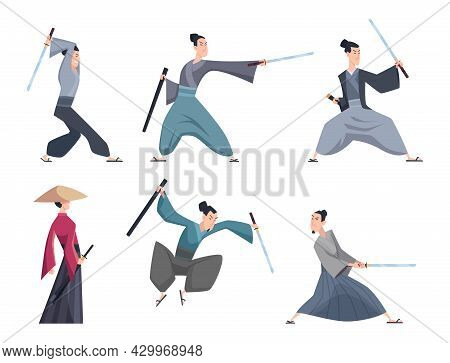 Samurai. Male Asian Warriors With Sword Various Action Poses Exact Vector Cartoon Characters Isolate