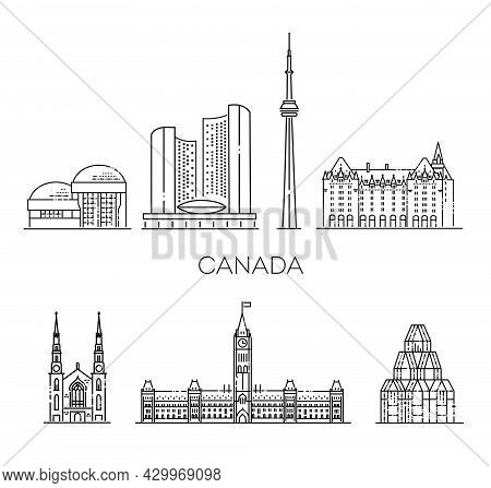 Linear Vector Symbols With Famous Landmarks, City Sights, Design Icons. Landscape