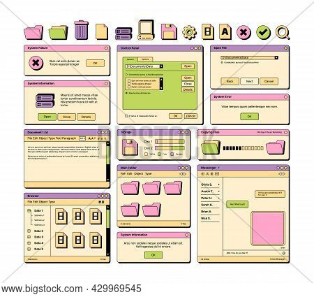 Web Ui. 90s Layout Screen Elements Frame Pages Banners Icons Dividers And Buttons Garish Vector Ui T