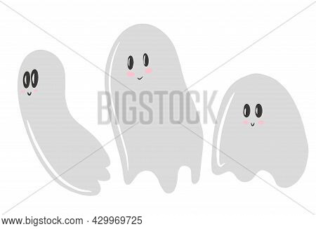 Halloween Ghost Silhouette Set, Ghost Collection, Cute Ghosts, White Background, Vector Illustration