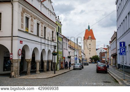 Pelhrimov, Czech Republic, 03 July 2021: Lower Or Jihlavska Gate, Medieval Renaissance Clock Tower,