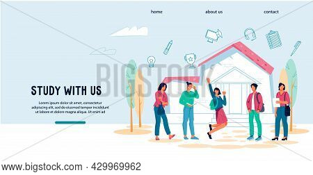 Study With Us Concept Of Website For College, University Or Online Educational Courses With Students