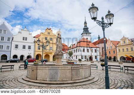 Pelhrimov, Czech Republic, 03 July 2021: Fountain With Statue Of St. Jakub At Main Town Masaryk Squa