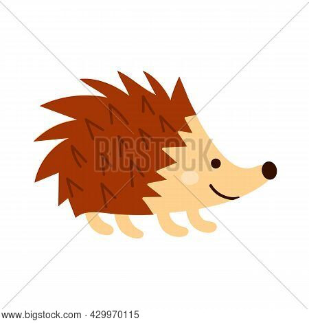 Hedgehog In A Doodle Style. Forest Animal With Prickly Needles.