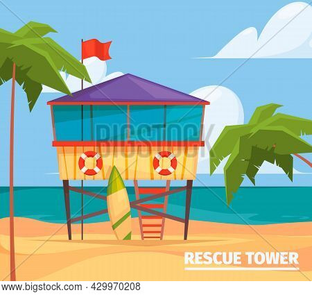 Lifeguard Buildings. Seaside Background With Guard Professional Wooden Building Garish Vector Illust