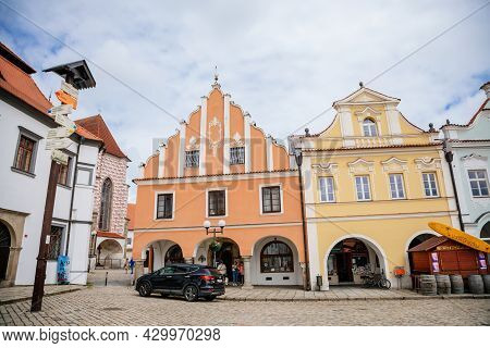Pelhrimov, Czech Republic, 03 July 2021: Main Town Masaryk Square, Old Baroque And Renaissance Histo