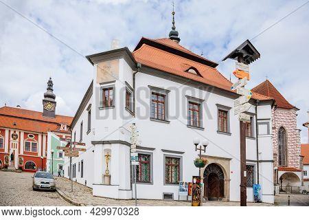 Pelhrimov, Czech Republic, 03 July 2021: Renaissance Historic Building Srejnar House And Castle With