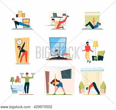 Fitness Home Activity. Sport Exercises Stretching Poses Squat Indoor Healthy Activities Garish Vecto