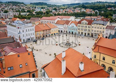 Pelhrimov, Czech Republic, 03 July 2021: Top View Of In Town Masaryk Square From Observation Tower,