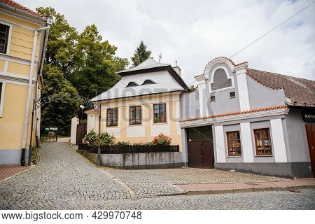 Pelhrimov, Czech Republic, 03 July 2021: Narrow Picturesque Street With Colorful Medieval Renaissanc