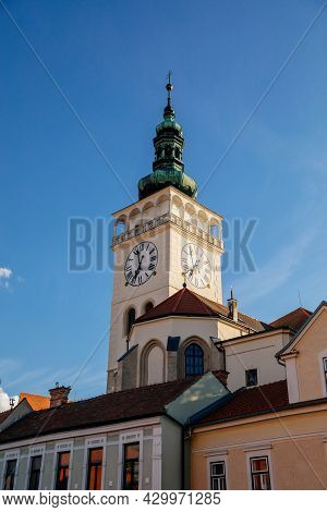 Mikulov, South Moravian Region, Czech Republic, 05 July 2021: Medieval Church Square And White Obser