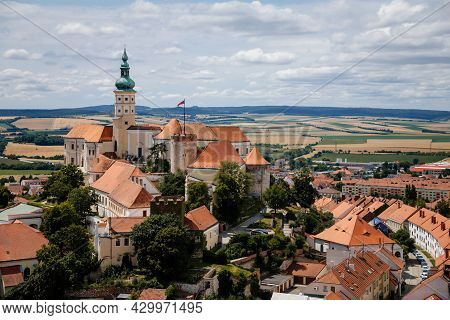 Mikulov, South Moravian Region, Czech Republic, 05 July 2021: Aerial View Of Medieval Town, Baroque