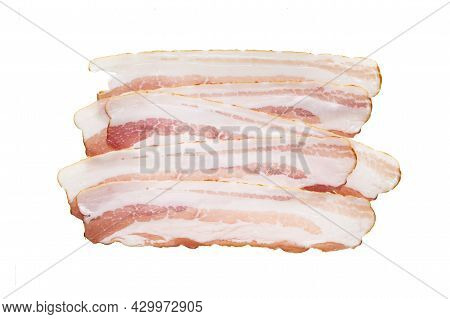 Delicious Slices Of Sliced Bacon, Isolate On A White Background
