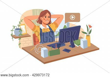 Teenager Woman Sitting At Desk On Chair And Watching Movies On Computer In Room. Vector Online Educa
