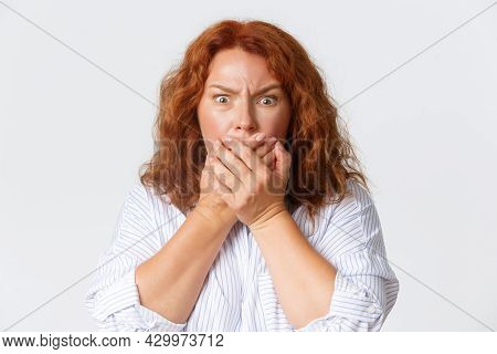 People, Emotions And Lifestyle Concept. Close-up Of Worried And Scared Redhead Middle-aged Woman Wat