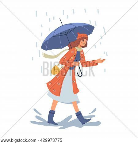 Female Personage Wearing Warm Clothes And Coat Holding Umbrella And Walking Under Rain. Cold Weather