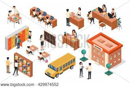 Isometric School. Teacher At Blackboard, Pupils Sitting At Desks. School Building And Bus, Classroom