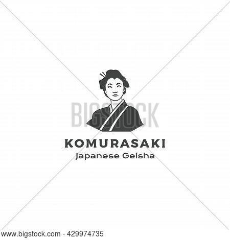 Beautiful Japanese Geisha, Portrait Of Asian Beauty. Geisha Logo Design Vector Illustration