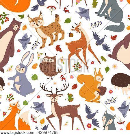 Forest Animals Seamless Pattern, Cute Woodland Animal. Flat Cartoon Fox, Bear, Rabbit, Deer, Hedgeho