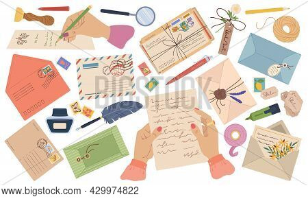 Envelopes, Letters, Paper Mail, Postcards With Stamps And Postmarks. Hands Writing Letter. Wax Seal