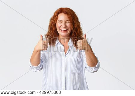 Good Job, Nice Work Gesture. Portrait Of Pleased Smiling Redhead Middle-aged Woman Encourage You, Ma