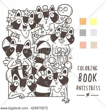 Coloring Book Antistress With Funny Cute Cartoon Raccoons. Doodle Print With Joyful Animals. Line Ar