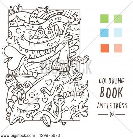 Coloring Book Antistress With Funny Cute Cartoon Creatures. Doodle Print With Dragon, Monster And Bi