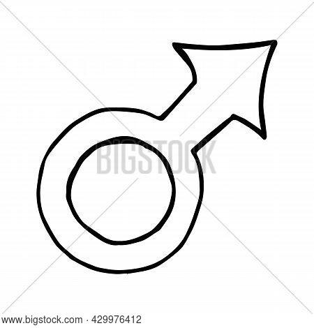 Hand Drawn Doodle Illustration With Gender Symbol. Symbol Of Masculinity Doodle Icon. Ransgender Sym