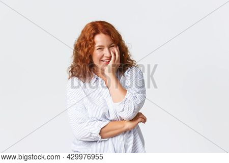 Beauty, Lifestyle And Aging Concept. Portrait Of Beautiful Laughing Middle-aged Redhead Woman Lookin