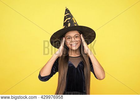 Kid Goes To Wizard School. Witchcraft And Enchantment. Childhood Autumn Holiday. Girl Ready To Celeb