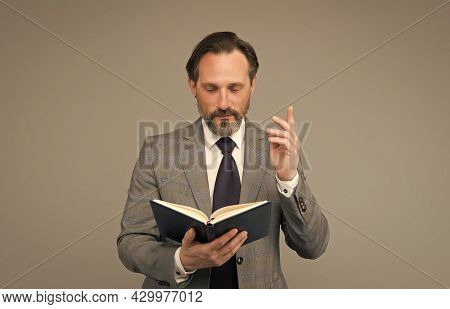 Reading Law Book. Man Found What He Was Looking For. Businessman Read Book About Success. Handsome M
