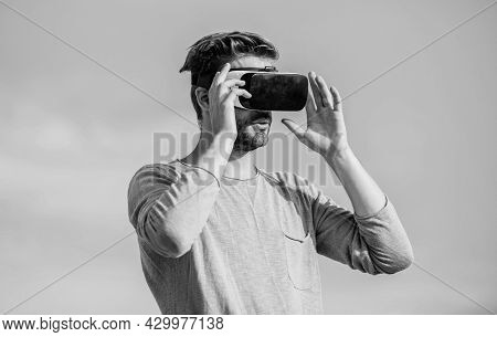 Modern Technology. Male Reality. Use Vr Headset. Sexy Man Sky Background Vr Glasses. Create Business