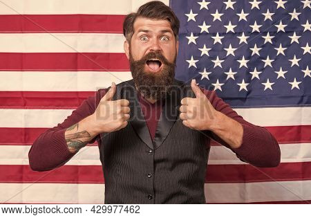 Bearded Man Migrant Apply For Citizenship Usa Flag Background, Freedom Concept