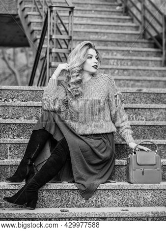 Perfect Female. Female Beauty. Fashion Model. Girl In Corrugated Skirt And Sweater. Pleated Trend. A
