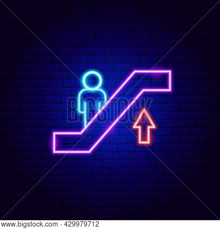 Escalator Up Neon Sign. Vector Illustration Of Moving Stairs Promotion.