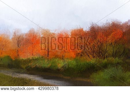 Abstract Impressionism. Autumn  Landscape. Modern Painting.  Hand-drawn Illustration.