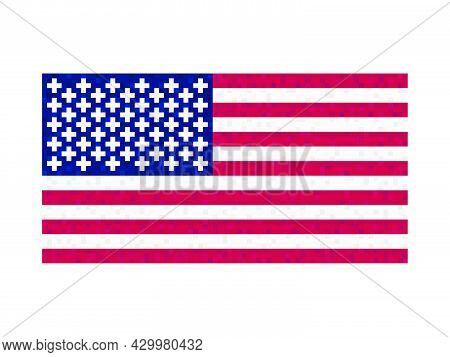 Usa Flag Pixel Art. 8-bit United States Of America Flag Sign. Design For A Festive Banner And Poster