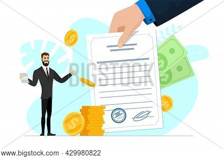Satisfied Businessman Hold Good Financial Notice. Positive Decision And Profitable Money Transaction