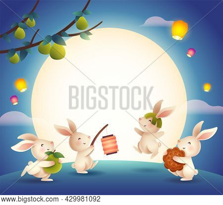 Mid Autumn Festival. Group of rabbit jumping in the moonlight celebrating mooncake festival. Wide copy space for design.