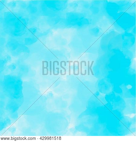 Abstract Vector Blue Watercolor Paint Textured Background. Azure Sky Clouds Backdrop Design. Pastel