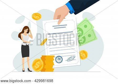 Shocked Frustrated Businesswoman Hold Financial Or Mortgage Bills. Broke, Financial Problem And Debt