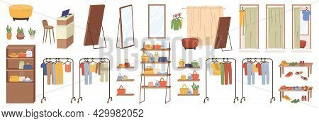 Accessories, Elements Of Shop Furniture Clothing Isolated Flat Cartoon Icons Set. Large Wardrobes Cl