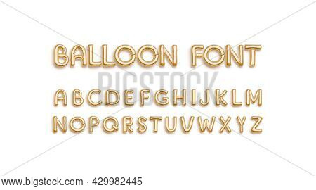 Inflated Gold Balloon Font With Capital Alphabet, Top View, 3d Rendering. Helium Uppercase Inflatabl