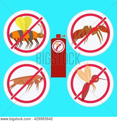 Prohibition Signs With Insects. Repellent Spray Insect In A Bottle. Protection From The Mosquito, Co